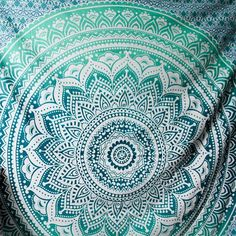 Indian Blue Green Hippie Mandala Bohemian Psychedelic Ombre Handmade Large Tapestry - A Perfect Gift for all the age groups and it is perfect for both indoor and outdoor use.