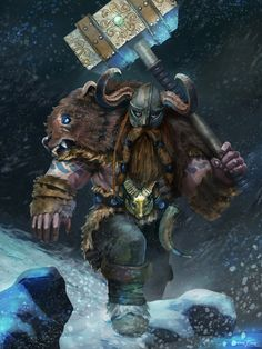 m Dwarf Ranger Leather War Hammer helm night snow mountain underdark hills forest mdlvl Onur Bakar