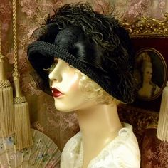 1920 s vintage style black feather flower cloche flapper dress hat 13133bfdc26b