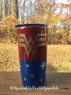 20 oz. Yeti Travel Tumbler with Red & Blue Powder-coating | Wonder Woman