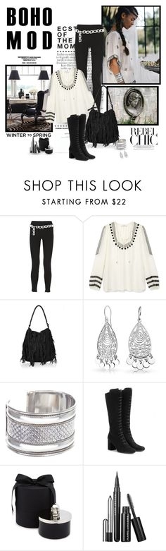 """""""Boho mod"""" by helleka ❤ liked on Polyvore featuring Hedi Slimane, F, Moschino Cheap & Chic, Altuzarra, Topshop, Bling Jewelry, M.N.G, Yves Saint Laurent, November and D.L. & Co."""