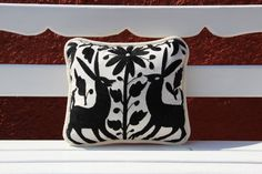 Black and Creme Otomi Sham by CasaOtomi on Etsy, www.casaotomi.com Tenango, Otomi, Casa otomi, Casaotomi, Mexican Suzani, Mexican, wedding, Textile, Fabric, Hand Embroidered, embroidery, table runner, cushion, pillow, authentic, wall hanging,