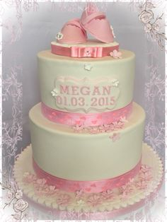 Bootees christening cake for girl