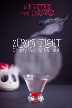 Zero& Flight -- Cherry Vanilla Martini {Disney Inspired Cocktail} // Nightmare Before Christmas Disney Cocktails, Halloween Cocktails, Disney Alcoholic Drinks, Disney Mixed Drinks, Halloween Shooters, Vintage Cocktails, Alcoholic Shots, Alcoholic Desserts, Christmas Drinks