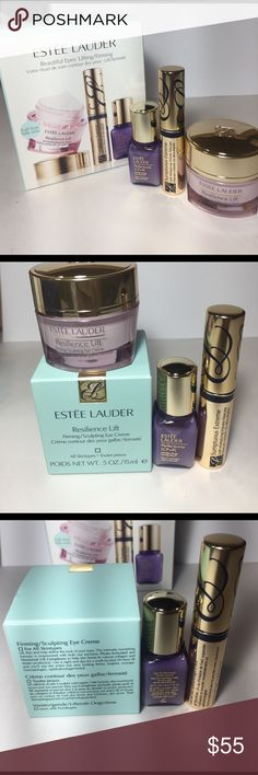 Estée Lauder beautiful eyes:lifting/firming New and authentic Estée Lauder beautiful eyes lifting/firming          Sumptuous extreme mascara     Perfectionist wrinkle serum .24Fl oz/7ml.                      Estée Lauder resilience lift firming/sculpting eye cream .5oz /ml Estee Lauder Makeup