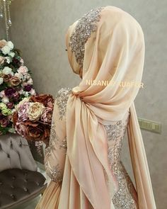 The design of the engagement outfit belongs to the fashion house - Muslim Fashion Hijabi Wedding, Muslimah Wedding Dress, Muslim Wedding Dresses, Muslim Dress, Hijab Dress, Hijab Outfit, Islamic Fashion, Muslim Fashion, Bridal Hijab Styles