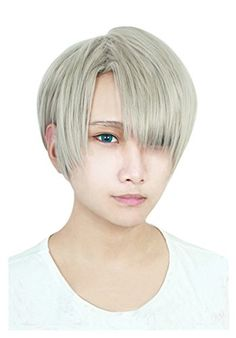 Cfalaicos Yuri on Ice Victor Nikiforov Cospaly Wig Short Synthetic Hair  Ash Gray ** You can get additional details at the image link.(This is an Amazon affiliate link)
