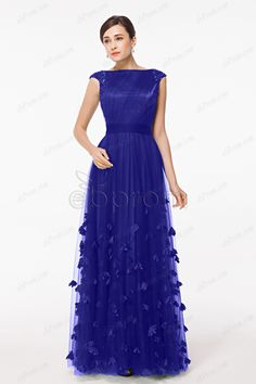 Royal Blue Cap Sleeves Long Soft Tulle Formal Dresses