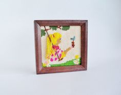 Darling Girl Needlework Framed Wall Decor by SunshineSurprises