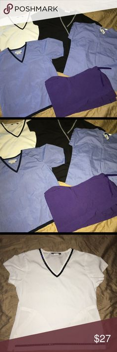 Women's 5pc scrub lot Sz: XS Thank you for viewing my listing, for sale is a women's, medical/dental, 5pc scrub lot.   You will receive 4 shirts & 1 pair of pants   All items are size XS   If you have any questions or would like additional photos please feel free to ask   Shirts:  SB Scrubs - black top  Natural uniforms - blue  Landau - blue  Los Angeles rose - white   Pants:  Apples for life - purple various Tops