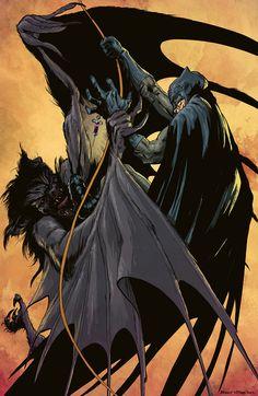 Batman vs Manbat by Brent Mckee. Colours by spicercolor Batman Vs, Batman The Dark Knight, Batman Stuff, Batman Versus, Batman Dark, Comic Sans, Alex Ross, Marvel Dc, Marvel Universe