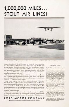 549bd4674462 1930 Ford Airplanes original vintage advertisement. With a look at Stout  Air Lines, flying
