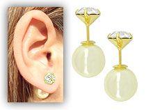 Brinco Dior Inspired folheado a ouro c/ pérola sintética e strass de 7 mm - Clique para maiores detalhes