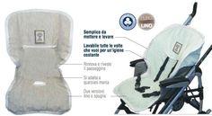 Copripasseggino. Ideale per la stagione più calda è confezionato al 100% con tessuti non trattati (Lino o Spugna di cotone). Isola la pelle del bambino dai meteriali sintetici tipici dei passeggini.