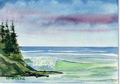 Arte Art Watercolor Beautiful  Paisaje Mar Blue Azul Sky Cielo