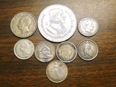 8 Old Silver World Coins 8 Foreign Silver Coins Ecuador Mexico Uruguay Dominican Republic Honduras Haiti Switzerland France Great Group! by EagleDen on Etsy