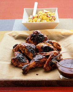 Barbecued Chicken - The best part of chicken grilled over an open flame is the dark, flavorful crust. Our barbecue sauce, made with molasses and Dijon mustard, intensifies to a sticky-sweet glaze. Homemade Barbecue Sauce, Barbecue Recipes, Entree Recipes, Grilling Recipes, Cooking Recipes, Healthy Grilling, Cooking Tips, Vegan Recipes, Dinner Recipes
