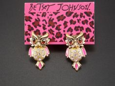 Betsey Johnson Cute fashion inlaid crystal owl earrings by AMSJewelryandNovelty on Etsy