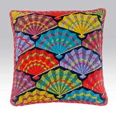 Paper Fans, a fun and colourful design by Raymond Honeyman Needlepoint Stitches, Needlepoint Pillows, Needlepoint Kits, Paper Fans, Paisley Pattern, Decoration, Vibrant Colors, Cross Stitch, Cushions