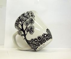 Tree of Life Hand Painted Mug -Single Large Ready to Personalize Coffee Cup - Painted Coffee Mugs, Hand Painted Mugs, Hand Painted Ceramics, Sharpie Crafts, Sharpie Art, Marble Mugs, Ceramic Mugs, Pottery Painting, Ceramic Painting