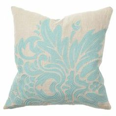 "Embroidered throw pillow with a damask-inspired motif and feather down fill.  Product: PillowConstruction Material: 100% Linen cover and cotton and down fillColor: TurquoiseFeatures:  Embroidered details on frontInsert included Dimensions: 18"" x 18"""