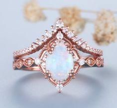 Opal Wedding Ring Set, Fire Opal Engagement Ring, Turquoise Wedding Band, Vintage Opal Engagement Ring, Wedding Ring Sets Unique, Engagement Ring Settings, Wedding Rings, Wedding Set, Gold Wedding