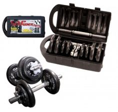 CAP Barbell RSWB-40TP 40 lb. Dumbbell Set - This set of dumbbells come in handy when you want to take a mild lift to tighten your biceps, triceps and chest muscles to very heavy lift to bulk up while at home. No need to buy single dumbbell items for now. This set is all you need.Women will love this as well. The set comes in many variant weights. The handle bars are solid stainless steel and can easily be adjusted as they come with large stainless metal screws that secure the plates solid.