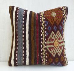 Embroidered Kilim pillow cover Ethnic Cushion by PillowTalkOnEtsy, $44.00