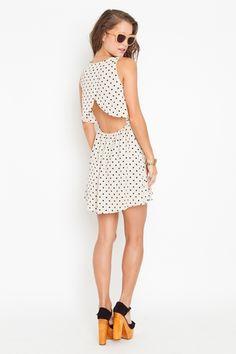Dot Cutout Dress in White $58