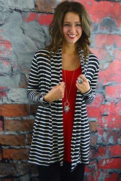 Black & White Striped Cardigan