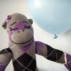 Purple Sock Monkey Doll  Girl Stuffed Animal Children's by heidibg, $39.00