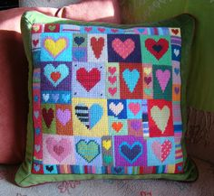Cross Stitch Borders Happy Hearts cushion, stitched using odds and ends of leftover wool from other projects. Cross Stitch Heart, Cross Stitch Borders, Cross Stitching, Cross Stitch Patterns, Tapestry Kits, Embroidery Hearts, Cross Stitch Embroidery, Craft Patterns, Mosaics