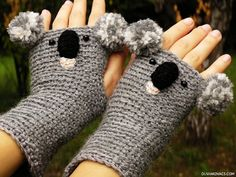 KOALA Fingerless Crocheted Hand Warmers (No pattern, but i could totally make those!)