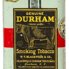 Scarce, tin litho vertical tobacco pocket tin for Blackwell Co.'s Durham brand (hands on back variation). Sold at: Wm Morford Antiques Looking to Buy or Sell? Vintage Bottles, Vintage Tins, Vintage Stuff, Vintage Photos, Retro Advertising, Vintage Advertisements, Wooden Smoking Pipes, Tobacco Pipes, Cigar Store Indian