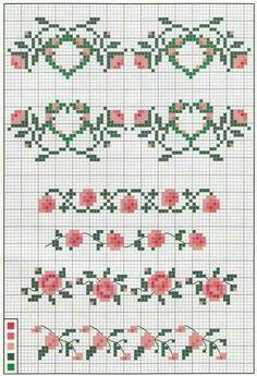 Flores Cross stitch pattern rose flourish motif More Cross Stitch Boarders, Cross Stitch Love, Cross Stitch Bookmarks, Cross Stitch Alphabet, Cross Stitch Flowers, Cross Stitch Charts, Cross Stitch Designs, Cross Stitching, Cross Stitch Embroidery