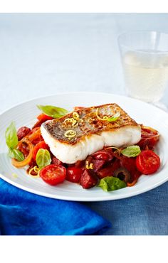 Pan fried hake with Mediterranean tomatoes, looks just sooo yummy!