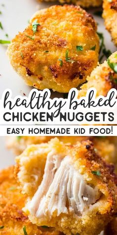 These homemade chicken nuggets are so fun to make for the kids! They re healthy . These homemade chicken nuggets are so fun to make for the kids! They re healthy as they re baked in Easy Dinner Recipes, Baby Food Recipes, Appetizer Recipes, Breakfast Recipes, Easy Meals, Cooking Recipes, Easy Recipes, Healthy Chicken Nuggets, Homemade Chicken Nuggets
