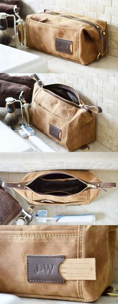 Personalized expandable toiletry travel dopp kit for men in brown waxed cotton canvas and leather. A perfect monogrammed gift for the well-organized man. Made in the USA.