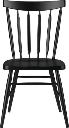 """The ever-popular Windsor chair sits up and gets noticed in deep raven black.  Beechwood frame brings the design up to date with slender spindle back, angled legs and subtle saddle seat.  Mix with other Willa Chair color options for a fresh take on table seating or pull up solo to desk or vanity. BeechwoodLacquer finishMortise and tenon joineryFor indoor use only18""""H seatMade in China."""
