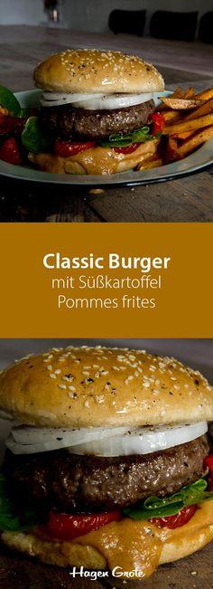 Classic Burger mit Süßkartoffel Pommes frites #burger #grillen