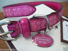 New COACH RASPBERRY PINK MEDIUM LARGE DOG COLLAR M L hot pink SIGNATURE | eBay