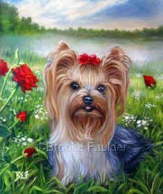 Kalimero among the red roses and foggy background was painted on commission to celebrate the life of one little Yorkshire Terrier in Germany. It is not available for sale, but as a dog artist, commissioned pet paintings happen to be my specialty. If you'd like to see your own dog painted onto canvas, I have several pictures of previously commissioned dog portraits. Contact me using the link on my site