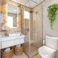 Banheiro colorido, geométrico e aconchegante . Diy Bathroom Decor, Bathroom Design Small, Bathroom Layout, Bath Decor, Bathroom Interior Design, Modern Bathroom, Small Shower Room, Toilet Design, Best Bath