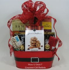Red with Black Belt Tin Gift Basket