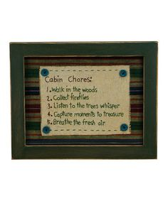 Take a look at this 'Cabin Chores' Stitchery Wall Art by Primitives by Kathy on #zulily today!