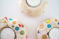 "Salt dough with beads, gems & sequins makes a nightlight holder for Diwali or as a gift ("",)"