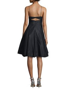 keyhole back knee length a line black charmeuse sleeveless cocktail bridesmaid dress