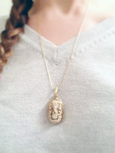 Nepalese White Ganesha Resin Clay in Brass Pendant on delicate gold snake chain // protection // good luck jewelry // ethnic necklace