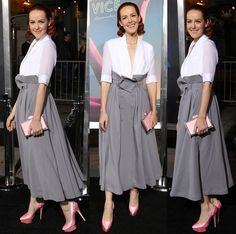 """Jena Malone in Plunging White Blouse and Pink Charlotte Olympia """"Paloma"""" Pumps"""