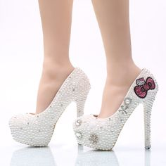 Cheap bridal pumps, Buy Quality women high directly from China rhinestone wedding shoes Suppliers: Large Size Hello Kitty Rhinestone Wedding Shoes Bridal Pumps Handmade White Pearl Women High Heels Party Prom Shoes Middle Heel Rhinestone Wedding Shoes, White Wedding Shoes, White Shoes, Hello Kitty Shoes, Frauen In High Heels, Prom Heels, Bride Accessories, Pretty Shoes, Crazy Shoes